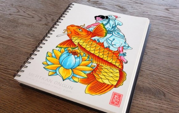 Koi-Fish-and-Kintaro-tattoo-design