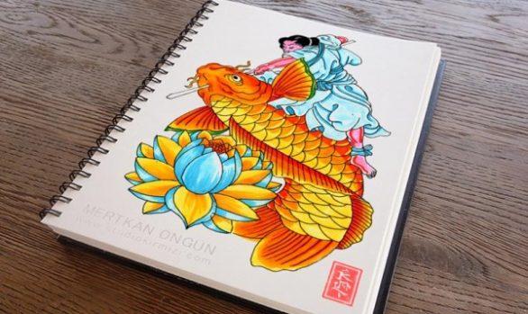 Koi-Fish-and-Kintaro-tattoo-design