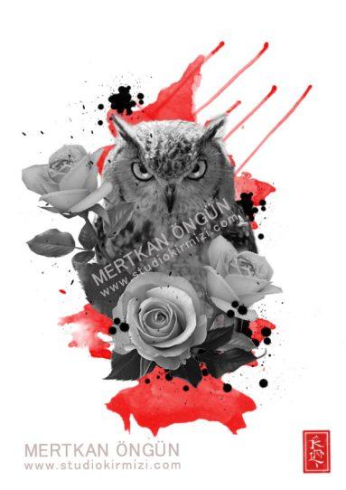 Owl-and-rose tattoo dövme