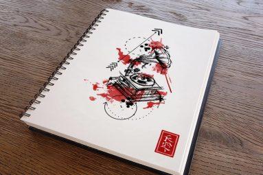 gramaphone-tattoo-sketch
