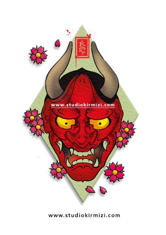 tattoo-Flash-hannya-mask