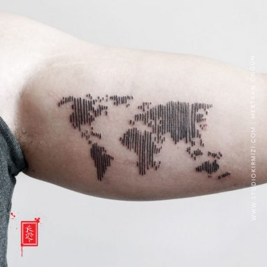 dunya-haritasi-dovmesi-world-map-tattoo-line-work-tattoo