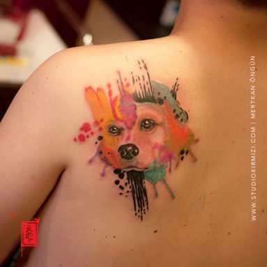 watercolor-tattoo-suluboya-dovme-kopek-portresi