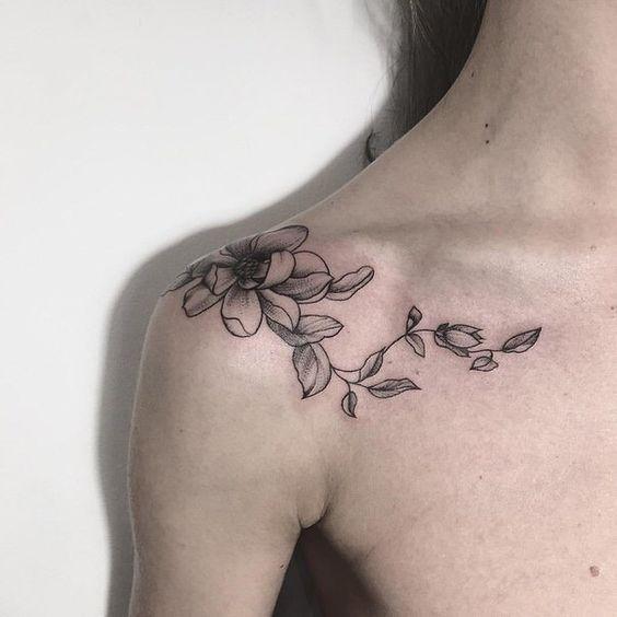 minimal omuz dövme modelleri lotus dövmesi